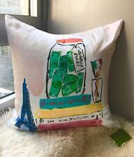 NWT Kate Spade ADVENTURE FUND Bucket List Multi-Color Silk Decorative Pillow