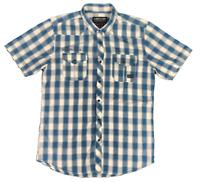 INSITU | Men's SS Press Stud Shirt | 2 Pockets | Checks | Blue White | Size M