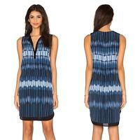 Vince Double Layer Silk Shift Dress Sz S Small Tie Dye Sleeveless V Neck Blue