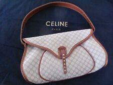 £1000 - CELINE Paris Designer Saddle BAG Hand Shoulder Logo Fabric Tan Leather