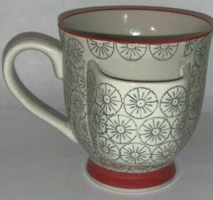 Creative Co-op Tan / Beige & Orange / Red Mug With Tea Bag Holder Circle Ceramic