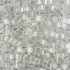 Miyuki Silver Lined Crystal 4mm Square (Cube) Glass Seed Beads 20g Tube (B86/1)
