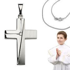 Kinder Erst- Kommunion Kreuz Anhänger Zirkonia Konfirmation mit Kette Silber 925