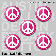 """(5) PEACE SIGN 1.25"""" pinback buttons / badges - 60s hippie symbol pins"""
