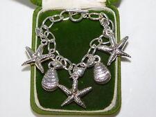 "Rhodium Silver Nautical Sea Shell Seashell Charm 7"" Lightweight Bracelet 2f 63"