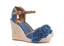 651014fe65e2 Tory Burch Shaw 90mm Blue Denim Royal Tan Espadrille Wedge Sandals Size 10