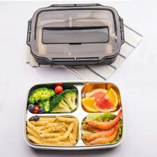 4 compartiment Bento Lunch Box Acier Inoxydable Portable Picnic Food Storage