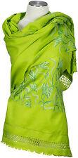 Schal bestickt  handembroidered  stole from Kashmir 100% wool Wolle Grün Green