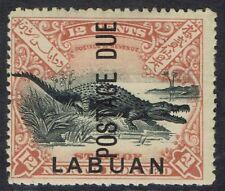 LABUAN 1901 POSTAGE DUE 12C CROCODILE PERF 14.5 - 15