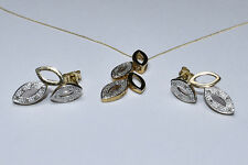 NEW 9CT YELLOW & WHITE GOLD DIAMOND LEAF NECKLACE & EARRINGS SET BOXED