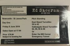 Ed Sheeran ticket 8th June 2018 Newcastle Pitch Standing