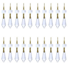 50 Gold Hook Hanging Drop Pendant Clear Chandelier Crystal Lamp Prisms Part 38mm