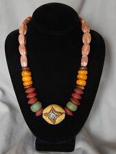 Handmade Antique Trade Bead necklace Hebron,Phenolic Amber, Krobo & Wound Beads