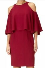 BNWT Adrianna Papell Cold Shoulder Dress, Cranberry Red Size 8 Petite