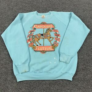 Vintage 90s Raglan Burlington Carousel festival Crewneck Sweatshirt L Made USA