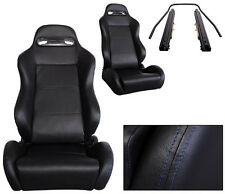 NEW 1 PAIR BLACK LEATHER + BLUE STITCH RACING SEATS ALL FORD *