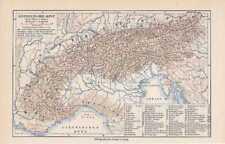 Einteilung der Alpen Ostalpen Westalpen KARTE um 1907 Gneiszone Apenninen
