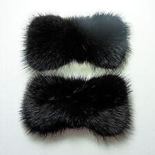 Black ribbon real mink fur decorative shoe clips formal ornament charm