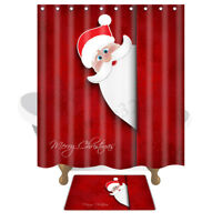 Christmas Santa Claus Waterproof  Fabric Bathroom Shower Curtain & Floor Mat Set