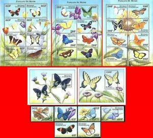CENTRAL AFRICA 1999  BUTTERFLIES SET +3 M/S + 2 S/S SC#1296-300 ** MNH INSECTS