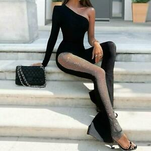 Womens Sexy One Shoulder Long Sleeve Mesh Patchwork Jumpsuits Long Flare Trouser