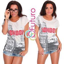Freizeit Pailletten ecru T-Shirt London Motiv Party Top Tunika Größe 8-12 FB230