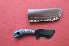 SUPER SWEET CAPER HIGH CARBON STEEL HUNTING KNIFE W BLUE LAMINATED WOOD HANDLE