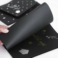 60 Pages Black Paper Sketch Book Diary Soft Cover For Painting Graffiti Drawing
