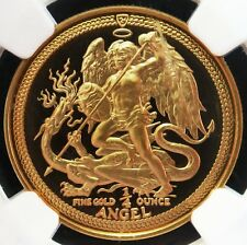 1986 GOLD ISLE OF MAN 1/4 ANGEL COIN NGC PROOF 68 ULTRA CAMEO