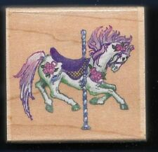 CAROUSEL HORSE JUMP Floral Carnival Design D055 STAMPENDOUS 1997 RUBBER STAMP