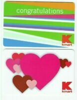 Kmart Gift Card LOT of 2 - Hearts / Congratulations - 2007, 2008 - No Value