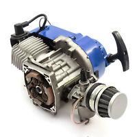 Mini Moto Dirtbike 49cc 2 Stroke Engine Blue Pullstart Minimoto No Clutchbell