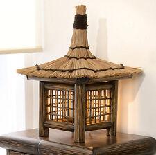 EXOTISCHE LAMPE TIOMAN BAMBUS LEUCHTE NACHTTISCH TISCHLAMPE BRAUN SCHILFGRAS NEU