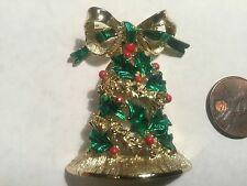 Vintage Green / Gold Christmas Bell Pin- signed