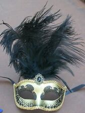 BLACK & GOLD FEATHER MASK VENETIAN MASQUERADE BALL CARNIVAL PARTY EYE MASK