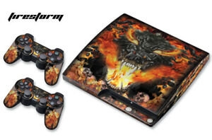 Skin Decal Wrap For PS3 Slim PlayStation 3  Console + Controller Firestorm