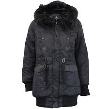 Ladies Parka Jacket Brave Soul Womens Hooded Coat Padded Faux Fur PU PVC Winter