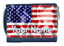 USA UNITED STATES FLAG PERSONALISED DENIM PURSE /MINI WALLET *GREAT NAMED GIFT *