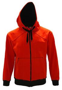 Men's Orange Fleece Polyester Work Construction Safety Full-Zipper Hoodie