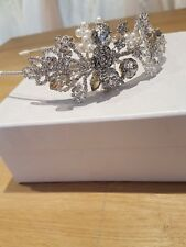 Bridal tiara Crystals silver Roses, pearls. Side tiara headband. Handmade in UK
