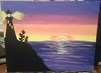 Sunset with lighthouse painting