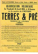 AISNE (02) / CHIVRES-EN-LAONNOIS / VENTE EN 1953 DE TERRES & PRE