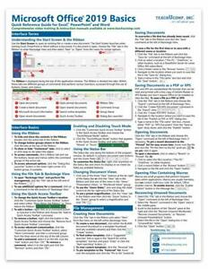 Microsoft Office 2019 Training Guide Quick Reference Card 2 Page Cheat Sheet