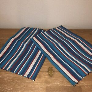 """Pier 1 Imports Red White Blue Striped Placemats Set 2  Beaded Patriotic 20""""x14"""""""