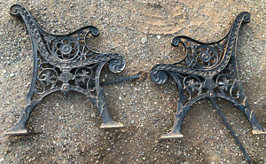 Vintage Pair of HEAVY DUTY Ornate Cast Iron Bench Legs Ends Flowers Salvaged