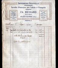 """SAUZE-VAUSSAIS (79) IMPRIMERIE pour LAITERIE FROMAGERIE """"Ch. RICHARD"""" en 1933"""