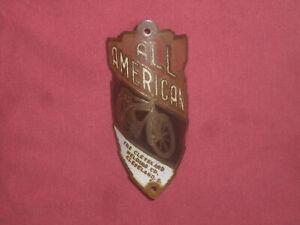 VINTAGE 30s 40s CWC BICYCLE HEAD BADGE ROADMASTER BIKE AMERICAN NAME PLATE TAG