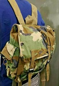 Vintage Croatian Army Woodland Camouflage Canvas Rucksack Satchel Backpack