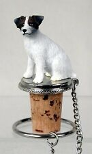 Jack Russell Terrier Brown Rough Dog Painted Resin Figurine Wine Bottle Stopper
