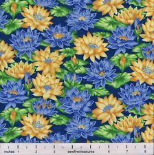 Flower of the Month July WATER LILIES BLUE YELLOW Northcott Fabric By FQ 1/4 YD